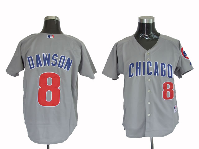 Mitchell and Ness Cubs #8 Andre Dawson Stitched Grey Throwback MLB Jersey