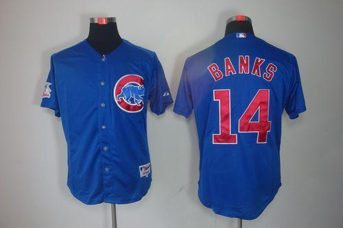 Cubs #14 Ernie Banks Blue Cool Base Stitched MLB Jersey