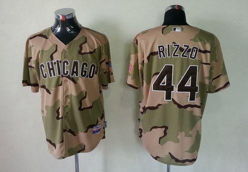 Cubs #44 Anthony Rizzo Camo Commemorative Military Day Cool Base Stitched MLB Jersey