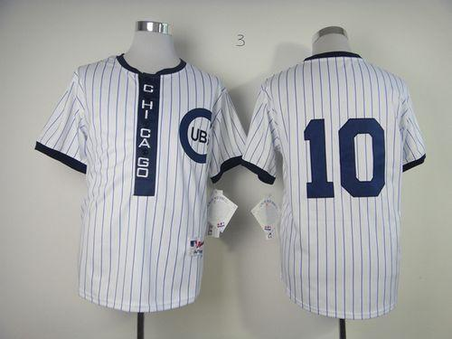 Cubs #10 Ron Santo White 1909 Turn Back The Clock Stitched MLB Jersey