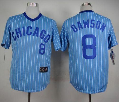 Cubs #8 Andre Dawson Blue(White Strip) Cooperstown Throwback Stitched MLB Jersey