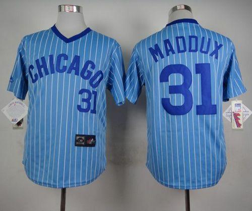 Cubs #31 Greg Maddux Blue(White Strip) Cooperstown Throwback Stitched MLB Jersey
