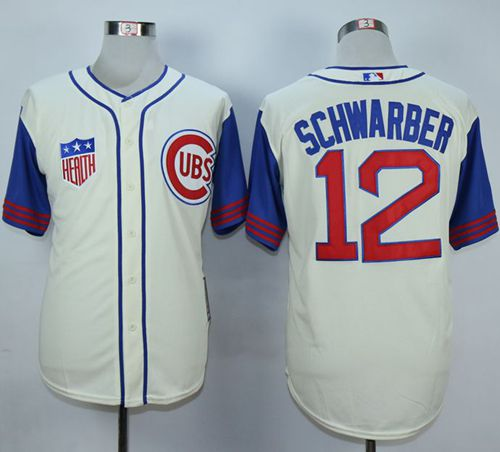 Cubs #12 Kyle Schwarber Cream/Blue 1942 Turn Back The Clock Stitched MLB Jersey