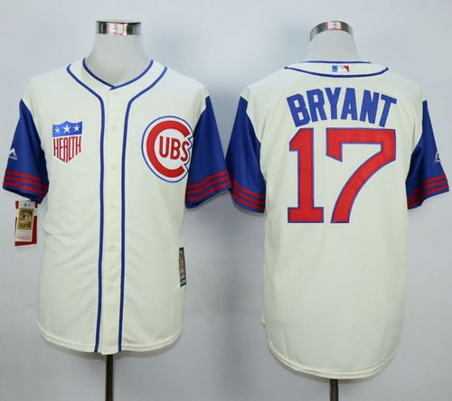 Cubs #17 Kris Bryant Cream/Blue 1942 Turn Back The Clock Stitched MLB Jersey
