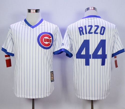 Cubs #44 Anthony Rizzo White Strip Home Cooperstown Stitched MLB Jersey