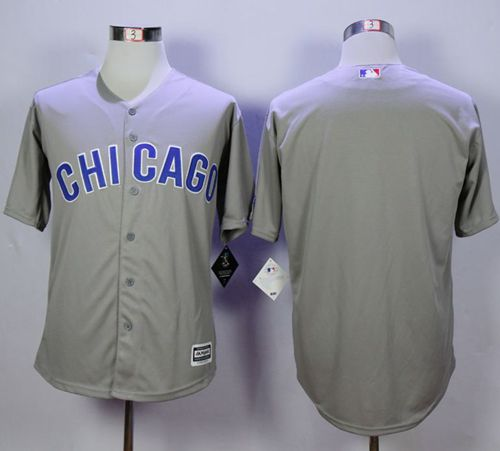 Cubs Blank Grey New Cool Base Road Stitched MLB Jersey