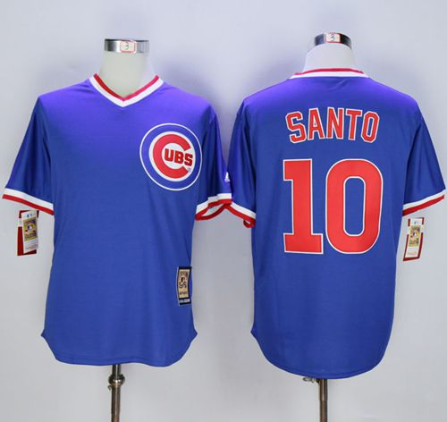 Cubs #10 Ron Santo Blue Cooperstown Stitched MLB Jersey