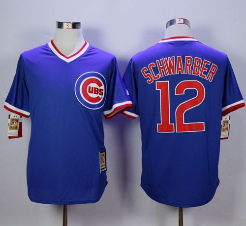 Cubs #12 Kyle Schwarber Blue Cooperstown Stitched MLB Jersey