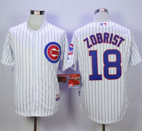 Cubs #18 Ben Zobrist White Cool Base Stitched MLB Jersey