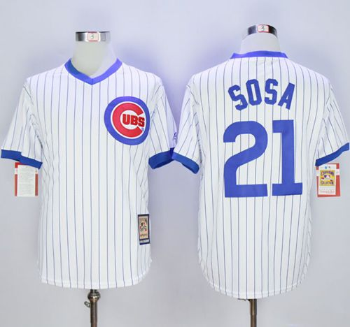 Cubs #21 Sammy Sosa White Strip Home Cooperstown Stitched MLB Jersey