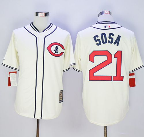 Cubs #21 Sammy Sosa Cream 1929 Turn Back The Clock Stitched MLB Jersey