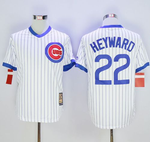 Cubs #22 Jason Heyward White Strip Home Cooperstown Stitched MLB Jersey