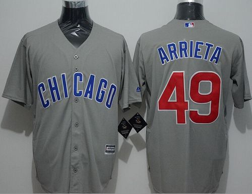 Cubs #49 Jake Arrieta Grey New Cool Base Stitched MLB Jersey