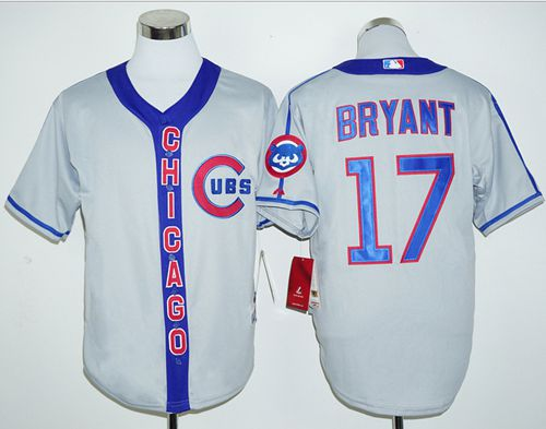 Cubs #17 Kris Bryant Grey Cooperstown Stitched MLB Jersey