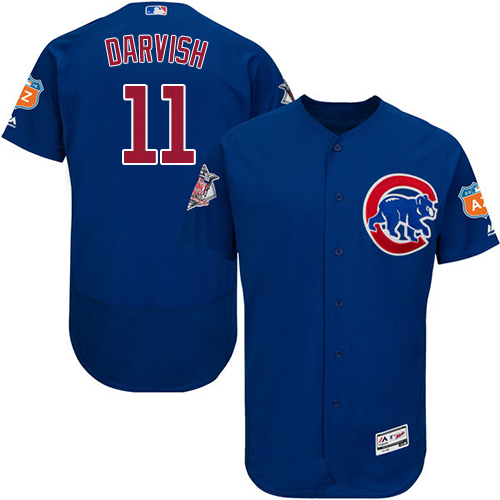 Cubs #11 Yu Darvish Blue Flexbase Authentic Collection Stitched MLB Jersey