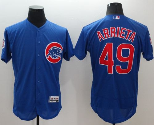 Cubs #49 Jake Arrieta Blue Flexbase Authentic Collection Stitched MLB Jersey