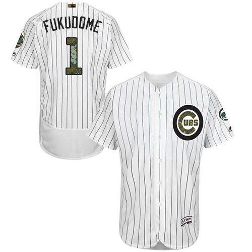 Cubs #1 Kosuke Fukudome White(Blue Strip) Flexbase Authentic Collection Memorial Day Stitched MLB Jersey