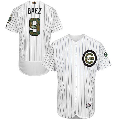 Cubs #9 Javier Baez White(Blue Strip) Flexbase Authentic Collection Memorial Day Stitched MLB Jersey