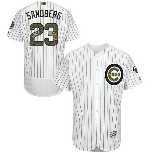 Cubs #23 Ryne Sandberg White(Blue Strip) Flexbase Authentic Collection Memorial Day Stitched MLB Jersey