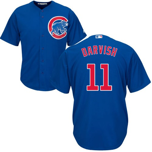 Cubs #11 Yu Darvish Blue New Cool Base Stitched MLB Jersey