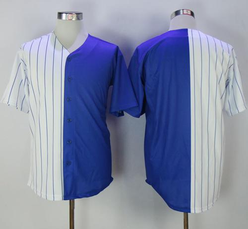 Cubs Blank White/Blue Split Fashion Stitched MLB Jersey