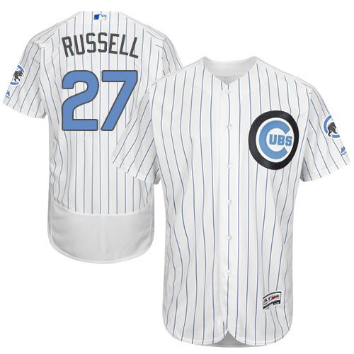 Cubs #27 Addison Russell White(Blue Strip) Flexbase Authentic Collection Father's Day Stitched MLB Jersey