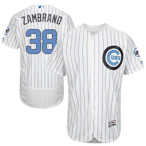 Cubs #38 Carlos Zambrano White(Blue Strip) Flexbase Authentic Collection Father's Day Stitched MLB Jersey