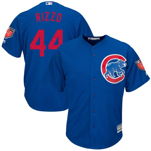 Cubs #44 Anthony Rizzo Blue 2018 Spring Training Cool Base Stitched MLB Jersey