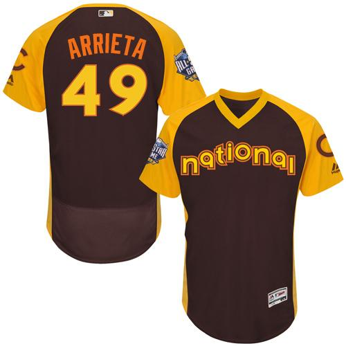Cubs #49 Jake Arrieta Brown Flexbase Authentic Collection 2016 All-Star National League Stitched MLB Jersey