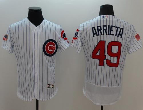 Cubs #49 Jake Arrieta White Fashion Stars & Stripes Flexbase Authentic Stitched MLB Jersey