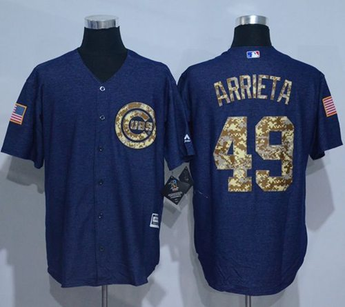 Cubs #49 Jake Arrieta Denim Blue Salute to Service Stitched MLB Jersey