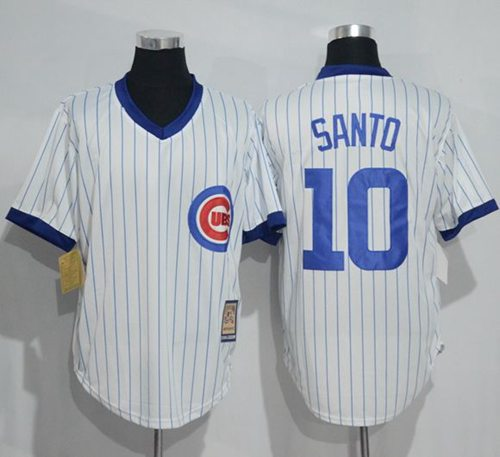 Cubs #10 Ron Santo White Strip Home Cooperstown Stitched MLB Jersey