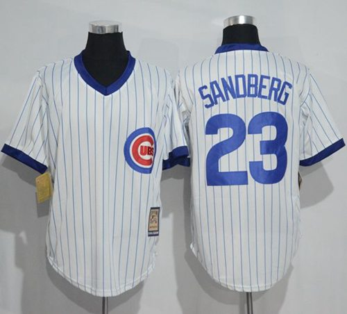 Cubs #23 Ryne Sandberg White Strip Home Cooperstown Stitched MLB Jersey