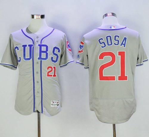 Cubs #21 Sammy Sosa Grey Flexbase Authentic Collection Alternate Road Stitched MLB Jersey