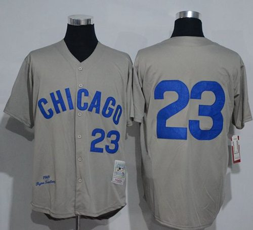 Mitchell And Ness 1969 Cubs #23 Ryne Sandberg Grey Throwback Stitched MLB Jersey