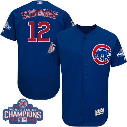 Cubs #12 Kyle Schwarber Blue Flexbase Authentic Collection 2016 World Series Champions Stitched MLB Jersey
