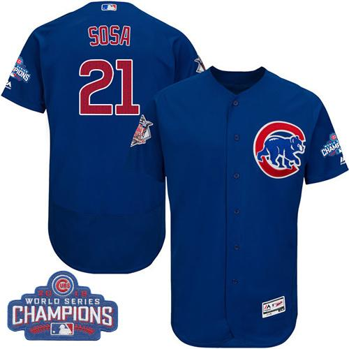 Cubs #21 Sammy Sosa Blue Flexbase Authentic Collection 2016 World Series Champions Stitched MLB Jersey