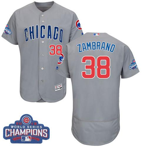 Cubs #38 Carlos Zambrano Grey Flexbase Authentic Collection Road 2016 World Series Champions Stitched MLB Jersey