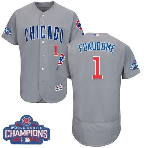 Cubs #1 Kosuke Fukudome Grey Flexbase Authentic Collection Road 2016 World Series Champions Stitched MLB Jersey