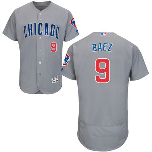 Cubs #9 Javier Baez Grey Flexbase Authentic Collection Road Stitched MLB Jersey