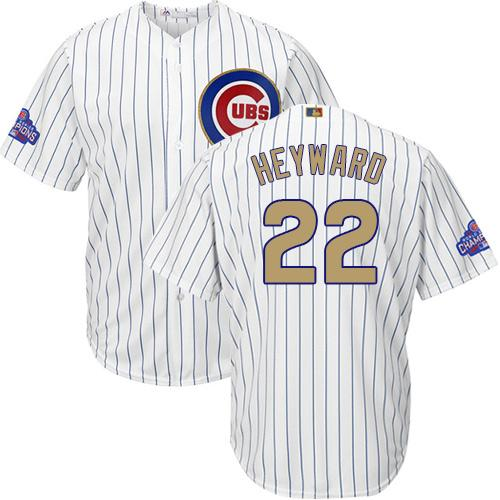 Cubs #22 Jason Heyward White(Blue Strip) Gold Program Cool Base Stitched MLB Jersey