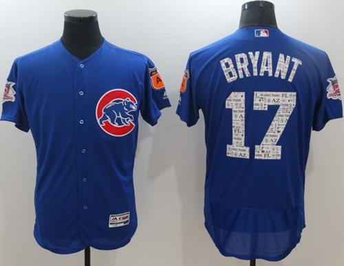 Cubs #17 Kris Bryant Blue Spring Training Authentic Flex Base Stitched MLB Jersey