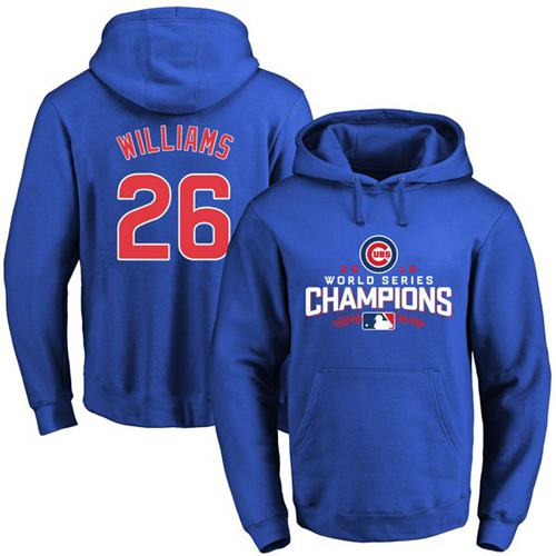 Cubs #26 Billy Williams Blue 2016 World Series Champions Pullover MLB Hoodie