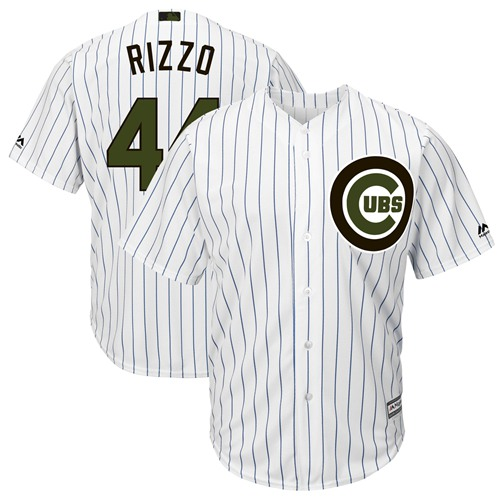 Cubs #44 Anthony Rizzo White(Blue Strip) New Cool Base 2018 Memorial Day Stitched MLB Jersey