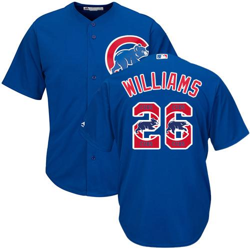 Cubs #26 Billy Williams Blue Team Logo Fashion Stitched MLB Jersey