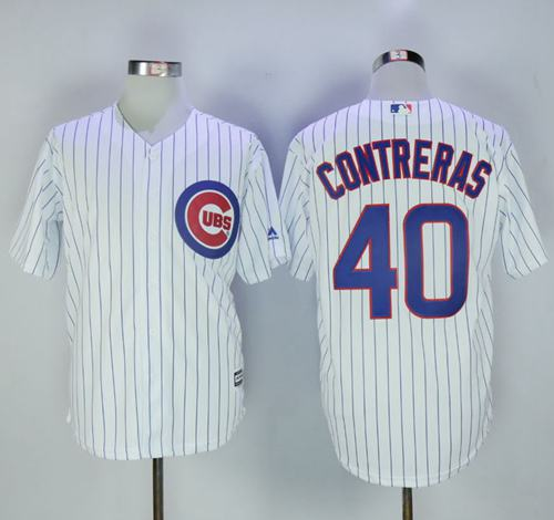 Cubs #40 Willson Contreras White Strip New Cool Base Stitched MLB Jersey