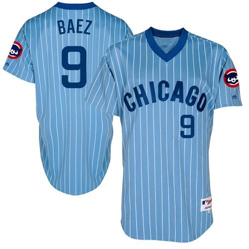 Cubs #9 Javier Baez Blue(White Strip) Cooperstown Throwback Stitched MLB Jersey