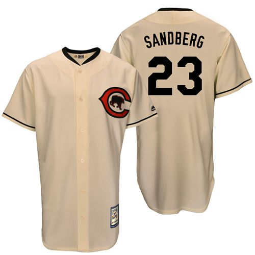 Mitchell And Ness Cubs #23 Ryne Sandberg Cream Throwback Stitched MLB Jersey