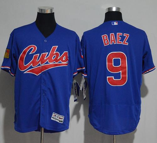 Cubs #9 Javier Baez Blue Flexbase Authentic Collection 1994 Turn Back The Clock Stitched MLB Jersey