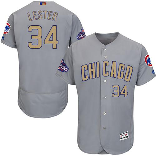 Cubs #34 Jon Lester Grey Flexbase Authentic Gold Program Stitched MLB Jersey